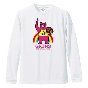 バスケ長袖Tシャツ「ピンクま!」
