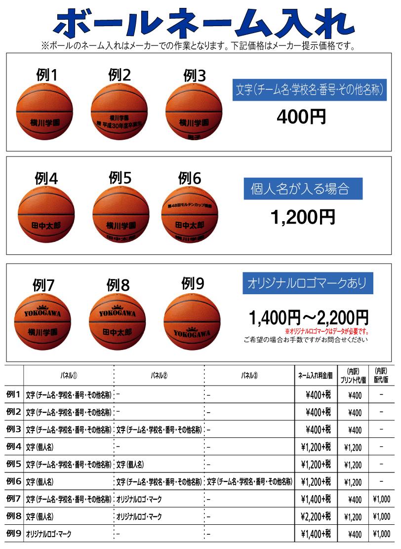 バスケットボールネーム入れ